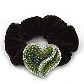 Rhodium Plated Swarovski Crystal Crinkle 'Heart' Pony Tail Black Hair Scrunchie - AB/ Green
