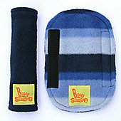Buggy Snuggle Navy Fleece Strap Covers (Blue Stripe)