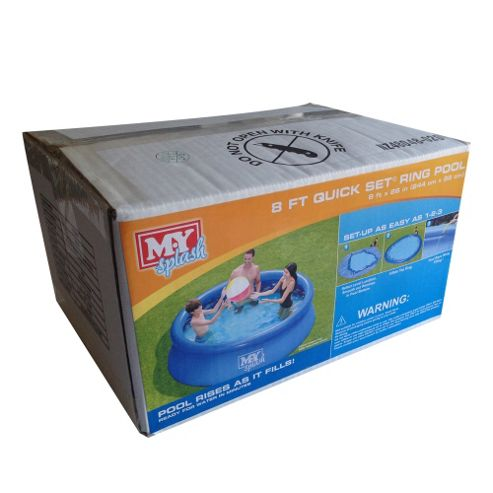 Buy mysplash 8ft quick set ring pool from our garden for Garden pool tesco
