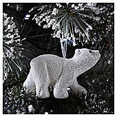White Glitter Polar Bear Christmas Tree Decoration