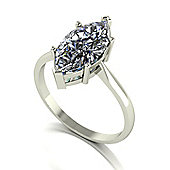 18ct White Gold 14x7 Marquise Moissanite Single Stone Ring