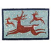 Winter Themed Prancing Reindeer Christmas Coir Doormat