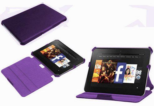 Navitech Purple Multi Stand Hard Faux Leather Case For The Kindle Fire HD 8.9 inch