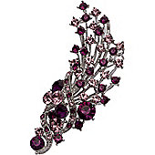 Rhodium Plated, Dark & Light Amethyst Crystal Flower Bouquet Brooch