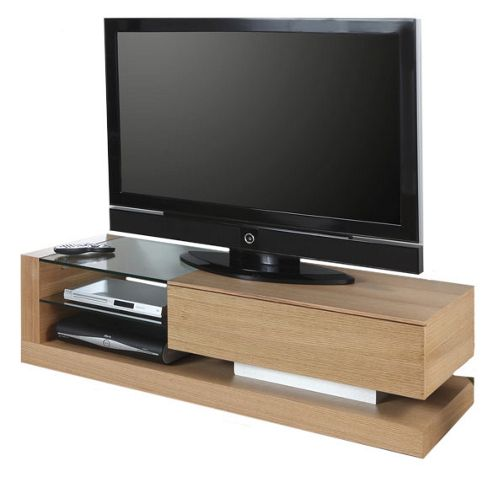Jual JF613 TV Stand in Oak with Clear Glass