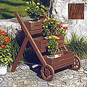 Ladder - Solid Wood Garden 3 Tier Flower Planter / Pot - Burntwood