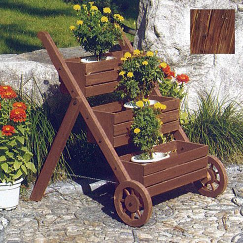 Ladder - Solid Wood Garden 3 Tier Flower Planter / Pot - Burntwood