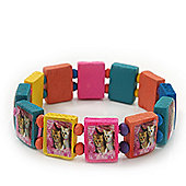 Multicoloured Wooden 'Two Cats' Flex Bracelet - Adjustable