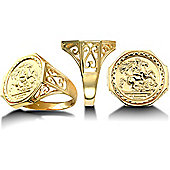 9ct Gold Hexagonal St George & Dragon Ring (Full Sovereign Size)
