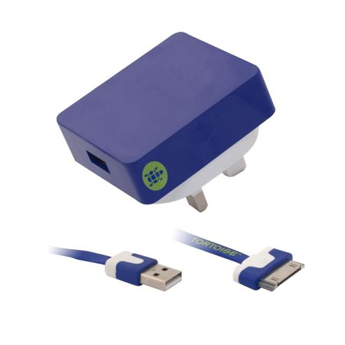 Tortoise™ Look iPhone 4/4S Mains Charger Blue