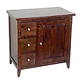 Homescapes Groove Dark Shade Solid Mango Wood Small Sideboard with Drawers