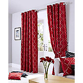 Midtown Eyelet Lined Curtain - Red