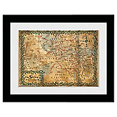 The Hobbit Middle Earth Map Framed Print, 30x40cm