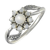 Gemondo 925 Sterling Silver 0.54ct Mother of Pearl & Marcasite Classic Cluster Ring