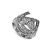 Jewelco London Rhodium Coated Sterling Silver Horse head in horse shoe Ring Size