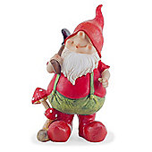 Mason the Traditional Red Gardening Gnome Figurine Ornament with Spade