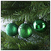 Festive Rich Green Baubles, 6 Pack