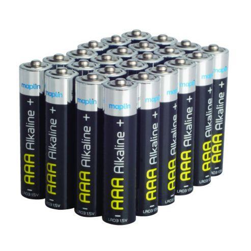 24 AAA Pack Maplin Battery Alkaline Extra Long-Life