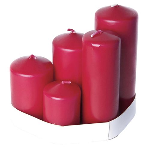 Tesco Pillar Candles Multi Pack Set of 5 Berry