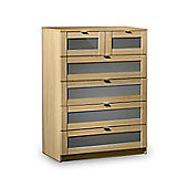 Strada Light Oak Finish with Grey 4+2 (6) Drawer Chest