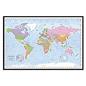 Miller Projection Gloss Black Framed Political World Map Poster
