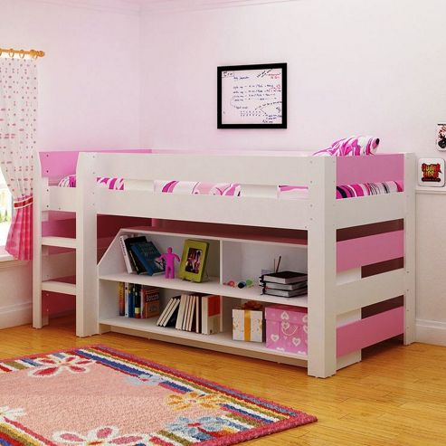 Home Essence Lollipop Mid Sleeper Bed - White / Pink