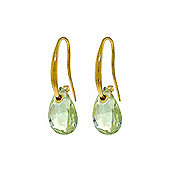 QP Jewellers 8.0ct Green Amethyst Aperture Hook Earrings in 14K Gold