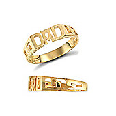 Jewelco London 9ct Solid gold Dad Ring with curb link style shoulders