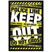 Police Line Do Not Cross Black Wooden Framed Keep Out! Poster