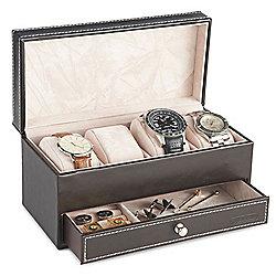 VonHaus Brown Faux Leather Watch and Cufflink box