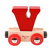 Bigjigs Rail Rail Name Letter V (Dark Red)