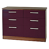 Welcome Furniture Knightsbridge 6 Drawer Chest - Oak - Aubergine