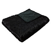 Faux fur black throw