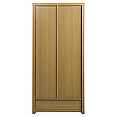 Tribeca Double Wardrobe With Drawer, Oak