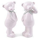Standing Pair of Ceramic Bear Christmas Ornaments with Light Green Ribbon Detail