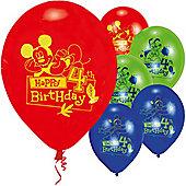 9' Disney Mickey Mouse 4th Birthday (6pk)