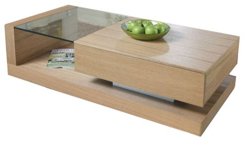 Jual JF613 Coffee Table in Oak with Clear Glass