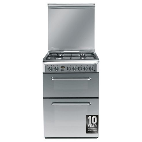 Indesit KDP60SES, Silver, Gas Cooker, Double Oven, 60cm