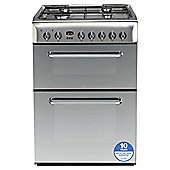 Indesit KDP60SES, Freestanding, Gas Cooker, 60cm, Silver, Twin Cavity, Double Oven