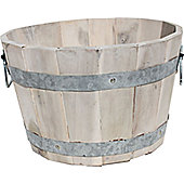 Cadix Acacia Barrel Planter - Whitewash - 38cm H x 63cm D