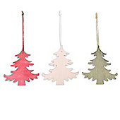 Set of Three Wooden Christmas Tree Decorations