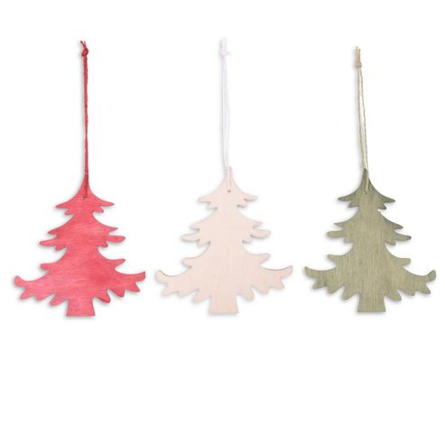 Set of Three Coloured Wooden Christmas Tree Decorations