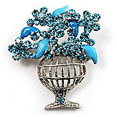 Light Blue Crystal Flower Basket Brooch