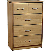 Charles 3+2 Drawer Chest Oak Effect Veneer with Walnut Trim