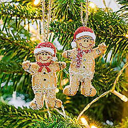 Mr & Mrs Gingerbread Man Hanging Christmas Tree Character Decoration Pair