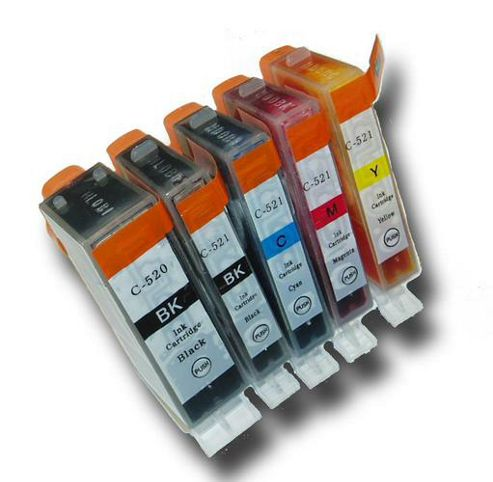 5 Chipped Compatible Canon PGI-520 & CLI-521 Ink Cartridges