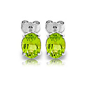 QP Jewellers 1.80ct Peridot Oval Stud Earrings in 14K White Gold