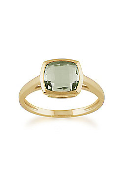 Gemondo 9ct Yellow Gold 2.00ct Square Mint Green Quartz Luminosity Ring