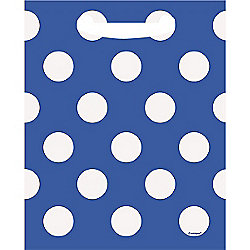Blue Polka Dot Party Bags - Plastic Loot Bags