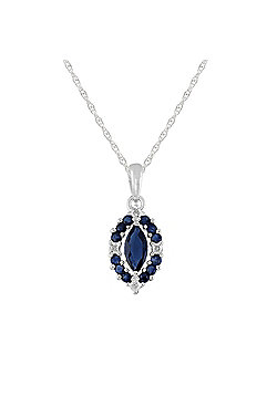Gemondo Sterling Silver 0.79ct Natural Sapphire & Diamond Cluster Pendant on Chain